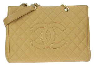 Chanel Quilted Leather Chain Logo Tote in Beige