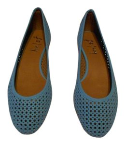 French Sole Perforated Design Light Blue Flats