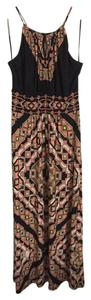 Black/Coral/Tan Maxi Dress by Roz & Ali Stretchy Maxi Print