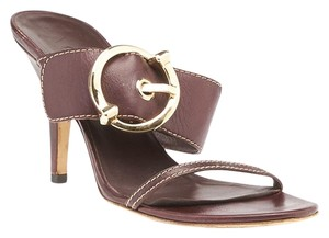 Gucci Leather Heels Brown Sandals