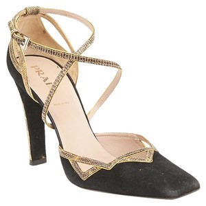 Prada Snakeskin Suede Black & Gold Pumps