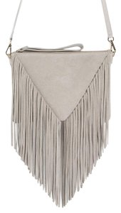 Zara Fringe Suede Fringed Leather Clutch Cross Body Bag