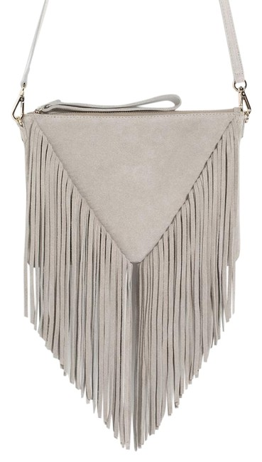 Item - Shoulder Clutch New Leather Fringed Purse Light Gray Suede Cross Body Bag