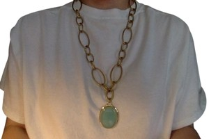 Julie Vos Julie Vos Oval Chalcedony Chain Link Gold Necklace