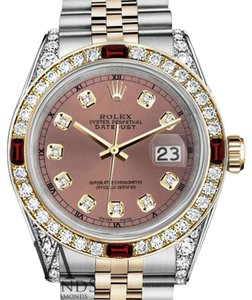 Rolex Ladies Rolex Stainless Steel & Gold 26mm Datejust Watch Salmon Dial Ruby & Diamond Bezel