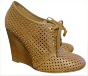 Tory Burch Perforated Oxford Bootie Tan Wedges