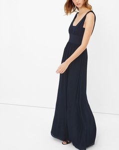 White House | Black Market Classic Navy Genius Chiffon Convertible Navy Gown Dress