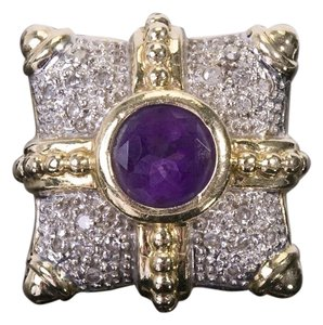 Antique Vintage Art Deco Diamond 14k Yellow Gold Amethyst Ring