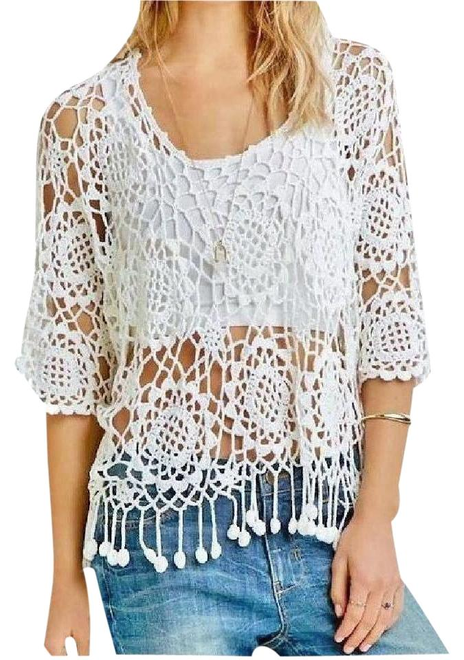 Forever 21 White Crochet Pom Pom Fringe Cover Up Blouse Sheer Lace