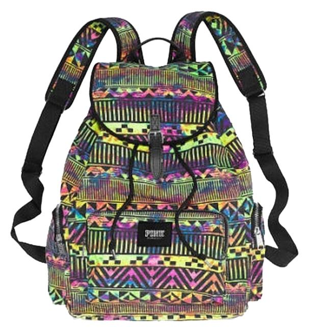 PINK Victoria's Secret Neon Aztec Print Full-size Multi Color Canvas Backpack PINK Victoria's Secret Neon Aztec Print Full-size Multi Color Canvas Backpack Image 1