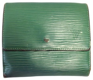 Louis Vuitton Louis Vuitton #7489 Monogram Green Epi Leather Double Sided Sqaure Wallet Pocket Bill Holder Card Case Coin Purse