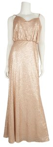 Bari Jay Pink Champagne Bridesmaid Formal Floor Length Dress