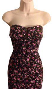 Love Culture short dress Black floral with pink on Tradesy