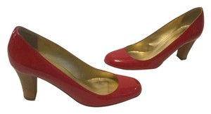 J.Crew Wood Like Heels Italian Red patent all leather Pumps