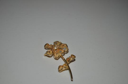 Other BEAUTIFUL VINTAGE FLOWER PINK GOLD TONE WITH MULTICOLOR STONES