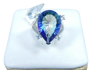 9.2.5 Appealing Pear shape 6.5 CT Mystic quartz Ring Sterling Silver