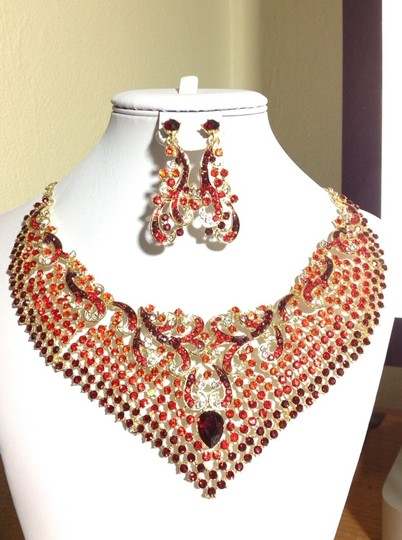 Unknown Ruby / Red Austrian Rhinestone Necklace And Earring Set