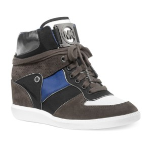 Michael Kors Leather Suede Blue, black, gray, white Wedges