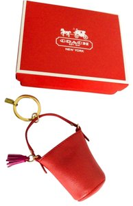 Coach Coach Red Leather Duffel Bag Keychain Keyfob