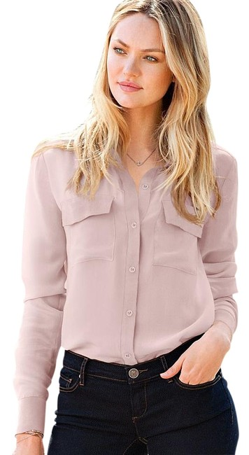 Item - Nude Silk Button-down Top Size 6 (S)