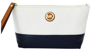 Michael Kors Fulton Cosmetic Case Travel Wristlet in White Navy