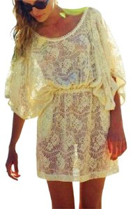 Anthropologie Kaftan DRESS Lace Crochet Pockets Macrame White Swimsuit Cover Up