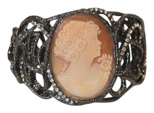 AMEDEO AMEDEO Hematite & Crystal Cameo Bracelet fits 6 3/4