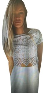 tiger mist Lace Crop Top white