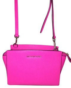 Michael Kors Leather Structured Satchel in hot pink