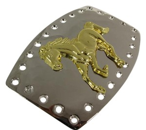 Other Men Women Polished Belt Buckle Hole Detail Western Silver Metal Gold Running Horse