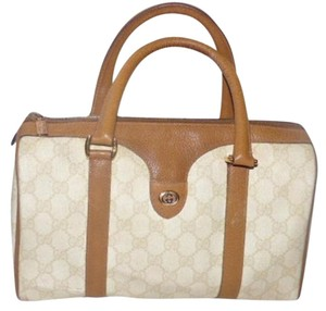 Gucci Doctor's Speedy/Boston Classic Print Satchel in ivory and camel large G logo