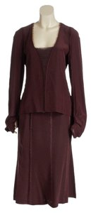 Yves Saint Laurent Yves Saint Laurent Maroon Long Sleeve Ruffle Lace Top and Skirt Set (Size 42)