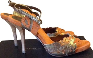 Donna Karan Orange and gold Sandals