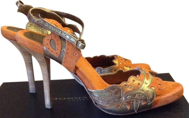 Donna Karan Orange and Gold Heels Sandals Size US 9.5 Regular (M, B) Donna Karan Orange and Gold Heels Sandals Size US 9.5 Regular (M, B) Image 1
