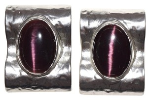Sterling Silver Plated Retro Glamour Resin Raised Clip On Earrings
