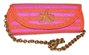 Eric Javits Squishee Paradis Starfish Neon Pink and Orange Clutch