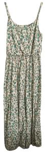 Tan/Teal Maxi Dress by Ann Taylor LOFT Leopard Animal Print Maxi