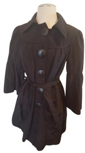 Nanette Lepore Batwing Button Up Belted Raincoat