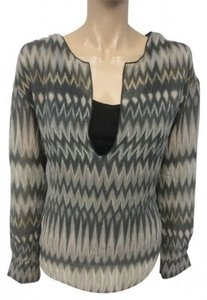 Graham & Spencer Silk Top Gray Scale Ikat