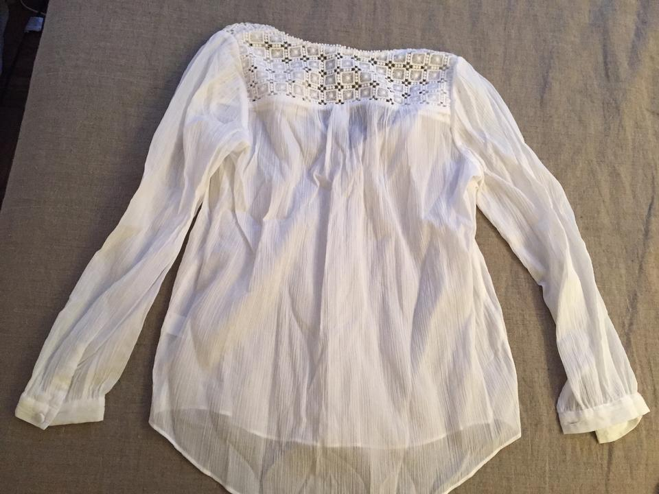 01b4a56ca85506 J.Crew White Embroidered Gauze Peasant Blouse Size 0 (XS) - Tradesy