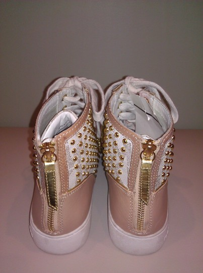 Michael Kors High Top Studded Leather Monogram Athletic