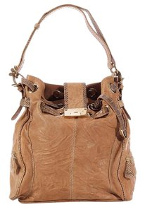 Jimmy Choo Brown Snakeskin Jc.k0512.10 Drawstring Leather Hobo Bag