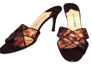 Manolo Blahnik tortoise shell and clear patent Sandals