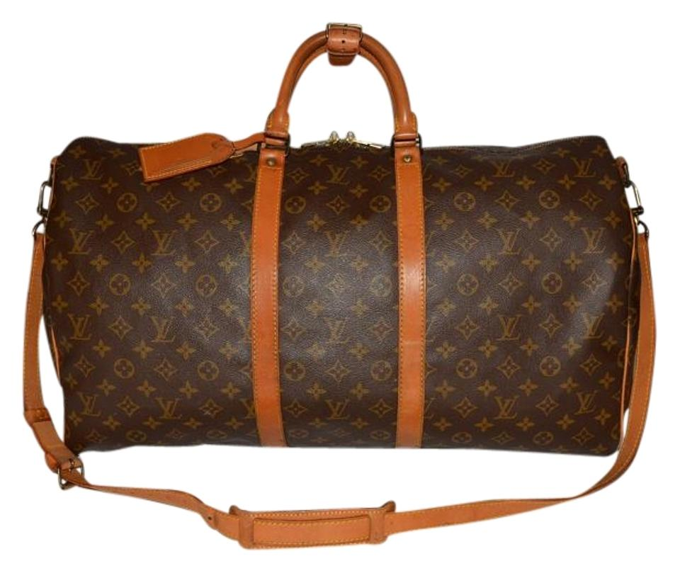 ffded5e9bbcc Louis Vuitton Keepall Bandouliere 55 Strap Handle Keeper Name Tag Lock Key  Brown Monogram Leather and Canvas Weekend Travel Bag