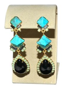 Elizabeth Cole New Elizabeth Cole Turquoise Pyramid and Jet Pear Drop Crystal Earrings
