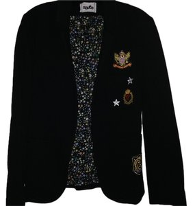 SAUCE Military Patches Crest Emblems Fleece BLACK Blazer