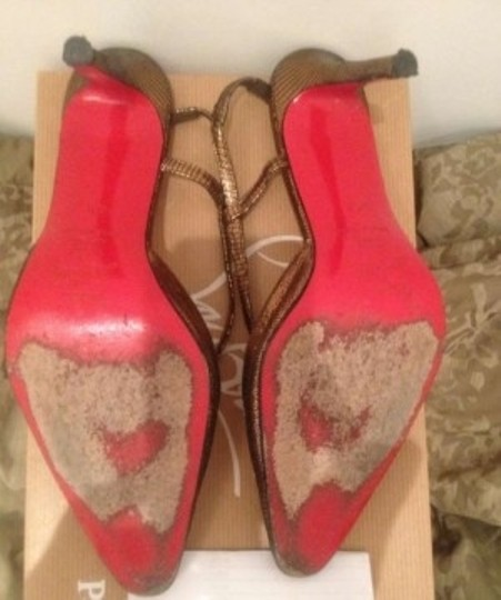 Christian Louboutin Slingback Red Soles Bronze Pumps