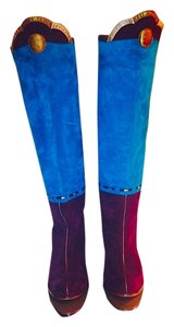Marc Jacobs Suede Leather Metallic Multi Boots