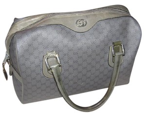 Gucci Rare Color Two-way Style Great Everyday Excellent Vintage Satchel in dark grey small G logo print on lighter grey coated canvas & grey leather