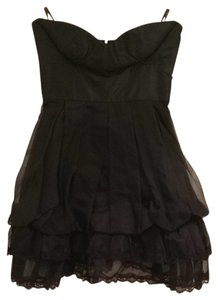 bebe Nightout Designer Strapless Short Silk Lace Dress
